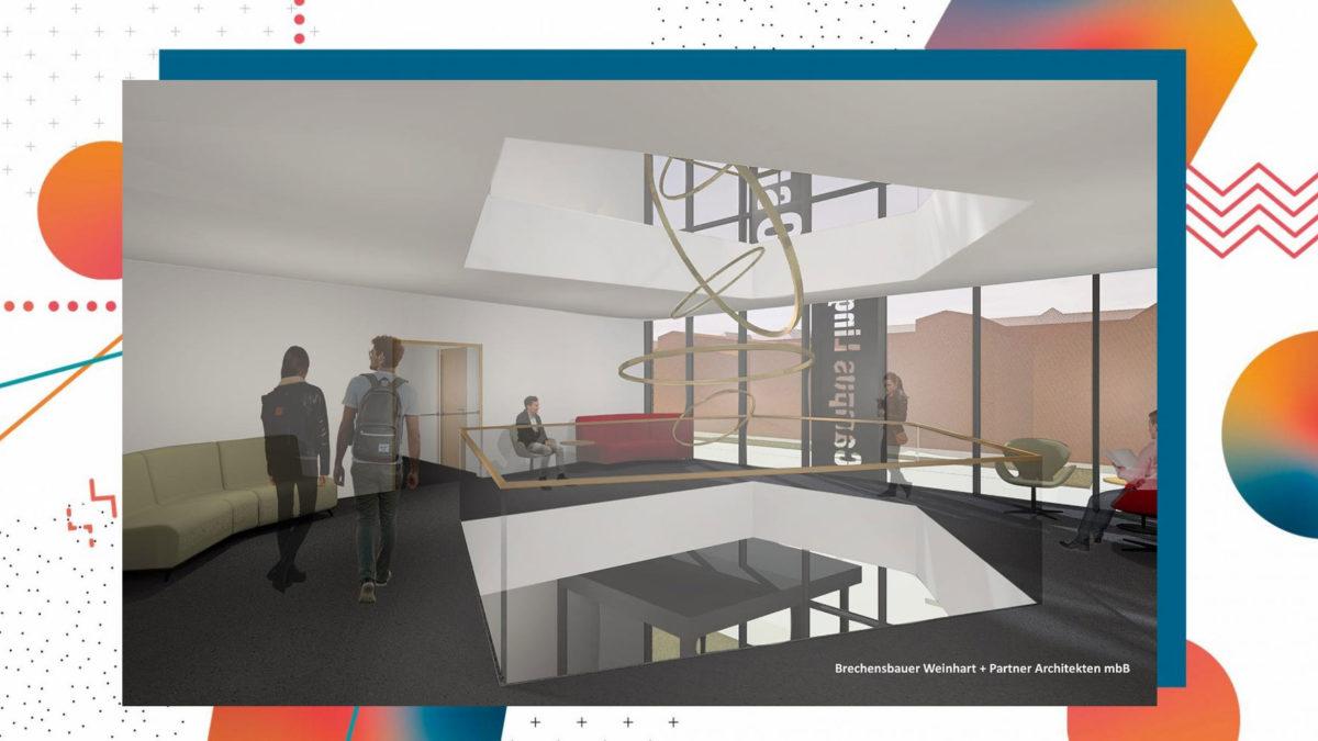 Ausblick auf die Verbindungsräume des neuen Laborgebäudes