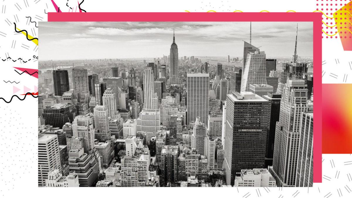 New York City Skyline in schwarz-weiß