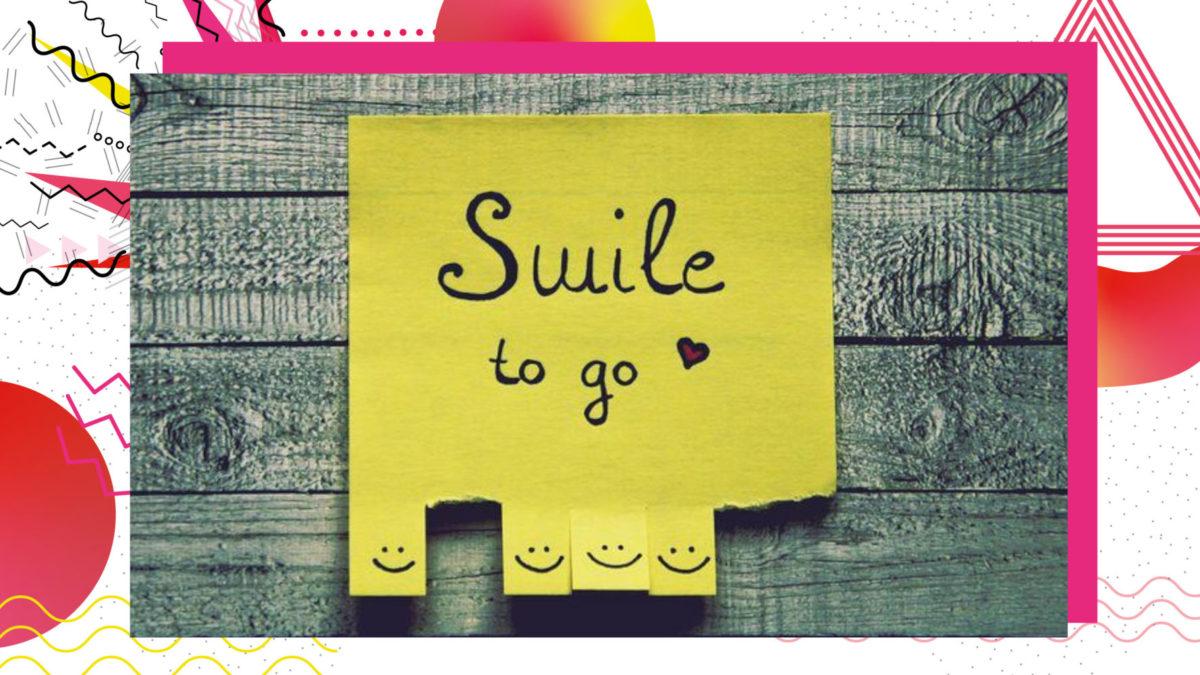 """Post-it mit der Beschriftung """"Smilie-To-Go"""" und unten Abreiszettelchen mit Smileys drauf"""