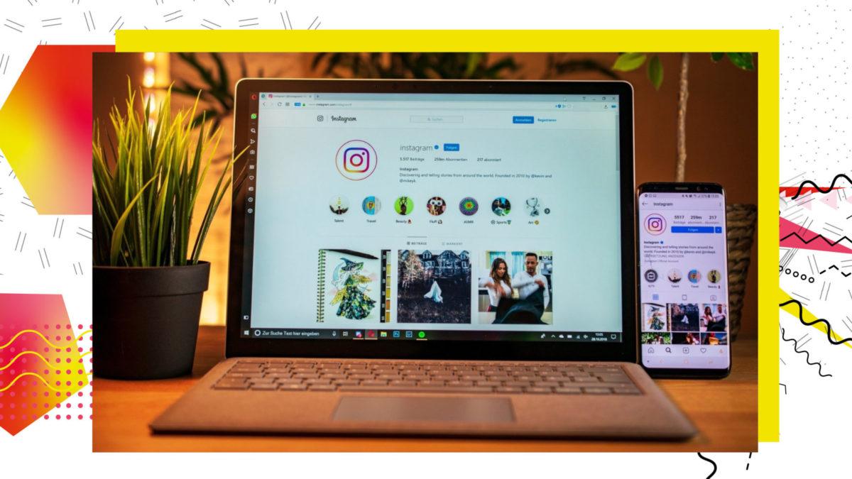 Laptop mit offener Instagram-Seite