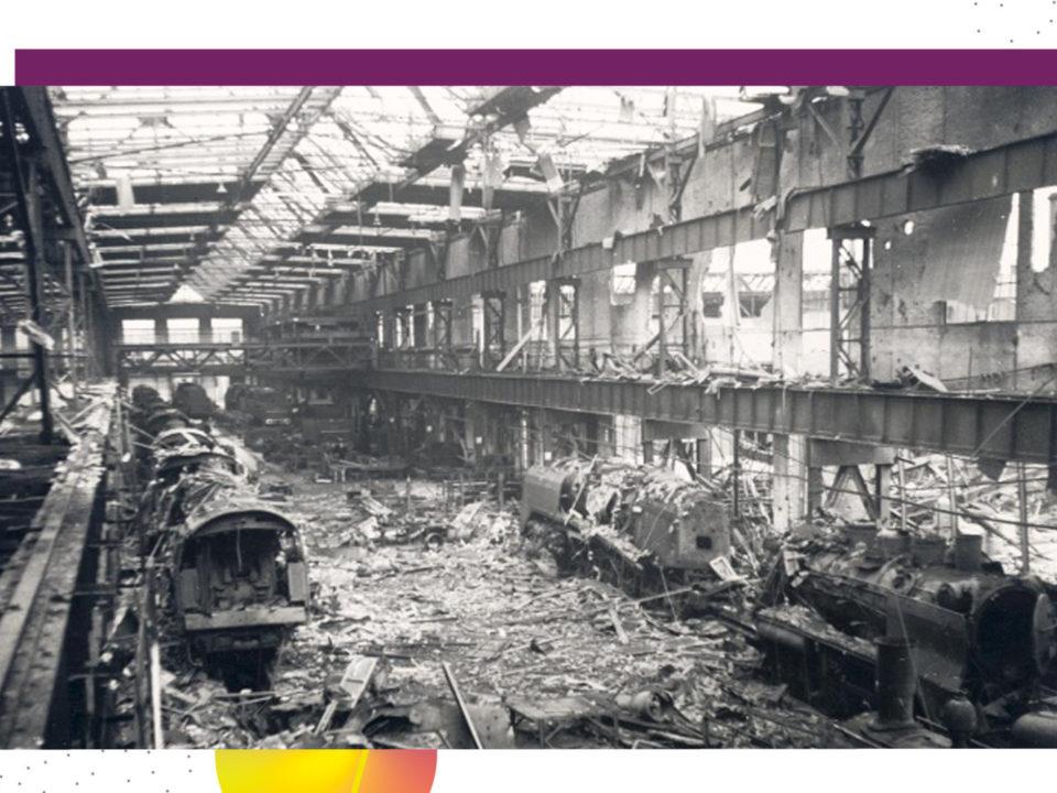 Blick auf das zertrümmerte Eisenbahnausbesserungswerk 1944